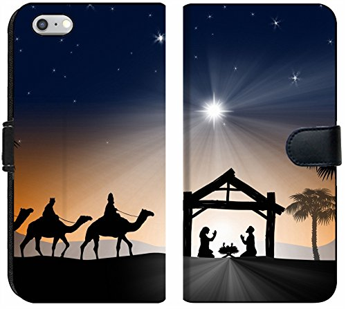 Apple iPhone 6 Plus and iPhone 6s Plus Flip Fabric Wallet Case Image ID 34260640 Traditional Christian Christmas Nativity Scene with The Three Wise me ()