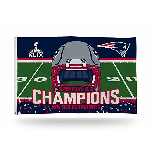NFL New England Patriots Super Bowl XLIX Champion Banner Flag, 3 by 5-Foot, White (Patriots 2015 Champion Pennant compare prices)