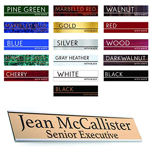 (Premium Desk Name Plate Personalized Desk Name Tags with Wall/Door Holder for Office Classroom (Silver Door/Wall Holder) | 16 Different Color for Name Plate)