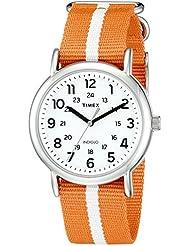 Timex Unisex TW2P68100 Weekender Orange/White Stripe Nylon Slip-Thru Strap Watch