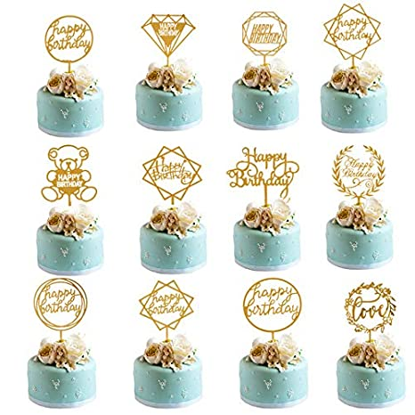 Incredible Bhahai 12 Pcs Happy Birthday Cake Toppers Gold Acrylic Cake Funny Birthday Cards Online Fluifree Goldxyz