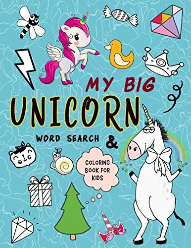 My Big Unicorns: word search and coloring book for kids: Preschool (Activity Book for Kids Ages 6-10)