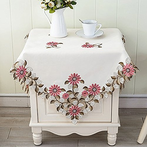 Yazi Pink Daisy Flower Retro Embroidered Tablecloth For Square Table  Wedding Party Decor