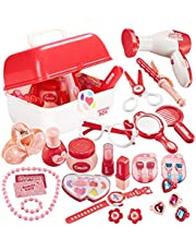 TEUVO Pretend Makeup Sets for Girls Role Play Toy Case Play Jewellery Cosmetics Kits, Vanity Set for Toddler Role Play Princess Dress Up Hairdressing Set with Portable Box Girls Gifts for 3 Year Olds