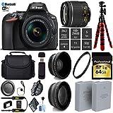 Nikon D5600 DSLR Wi-FI NFC 24.2MP DX CMOS Camera AF-P 18-55mm VR Lens + LED Light kit + Wide Angle & Telephoto Lens + 12 inch Flexible Tripod + Camera Case - International Version
