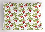 Lunarable Vegetables Pillow Sham, Red Pepper Branches Farm Hot Agriculture Mexican Restaurant Dinner Theme, Decorative Standard King Size Printed Pillowcase, 36 X 20 inches, Ruby Olive Green