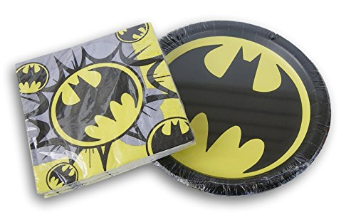 Designware Batman Logo Party Supply Kit - Dinner Plates and Napkins -