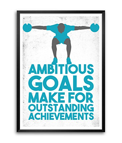 (LAB NO 4 Ambitious Achievements Gym Motivational Quotes Framed Poster Size A3 (16.5