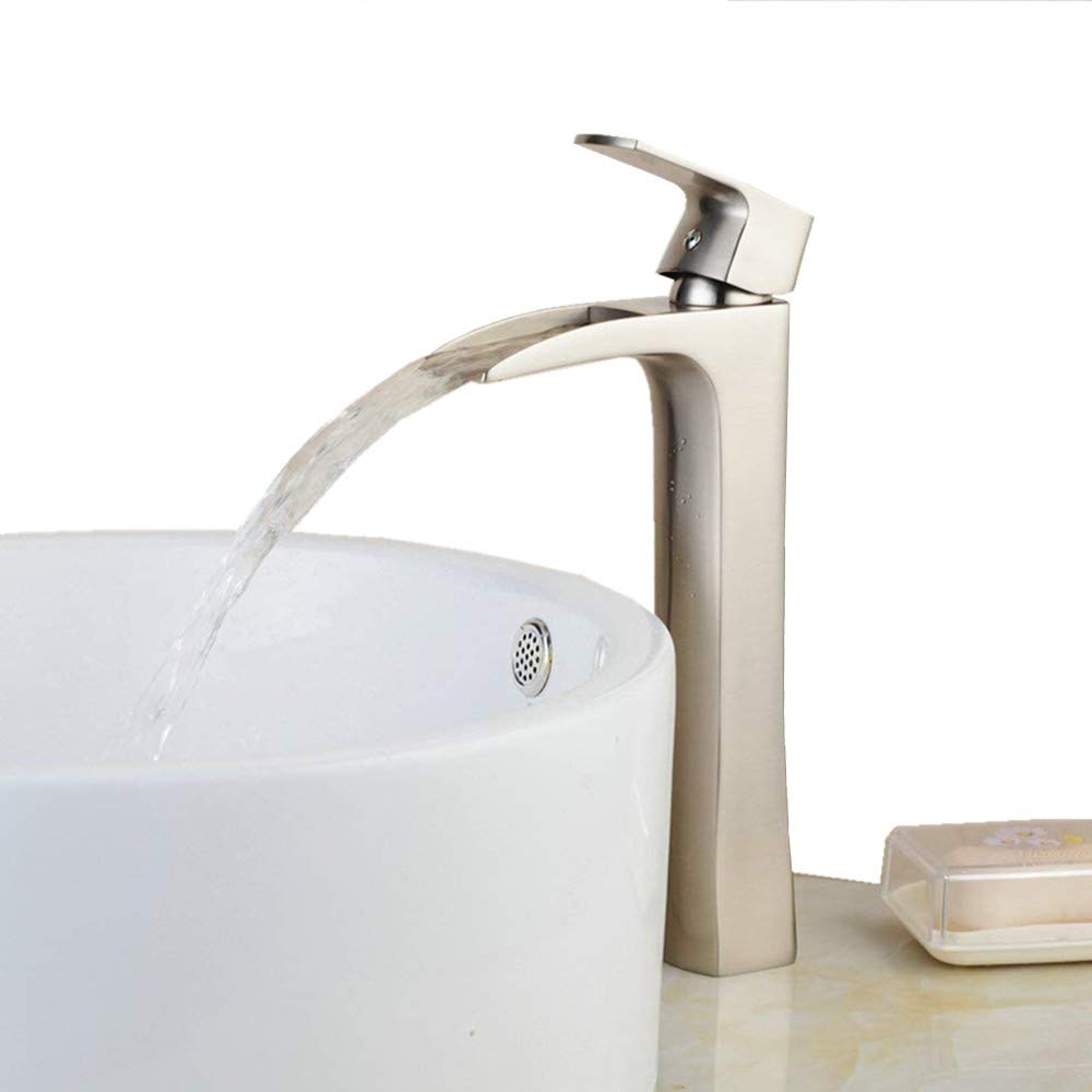 Tall Waterfall Counter Top Basin Mixer Tap Curved Bathroom Sink Faucet Brushed Nickel Heqisheng