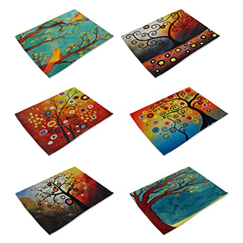 HACASO 6 Pieces Cotton Linen Placemats Oil Painting Animal Pattern Dining Table Mats(6)
