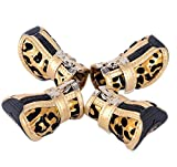 PU Non-slip Zipper Dog Boot Pet Casual Shoes, Gold Leopard Print