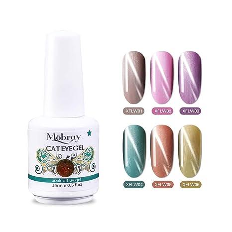 Mobray - Juego de esmaltes de uñas de gel UV para gatos, 6 colores,