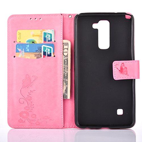 Ecoway Para LG LS775/LG STYLUS 2/LG Stylo 2 Funda, (Azul Marino ) Gofrado Cuero de la PU Leather Cubierta ,Función de Soporte Billetera con Tapa para Tarjetas Soporte para Teléfono rosa