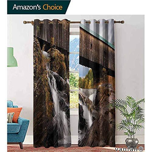Big datastore Grommet top Curtains/Drapery,LandscapeOld Rustic Oak Covered Bridge Over Cascading Waterfalls Rock Fall Season American City,Custom for Girls/Boys,Brown,W96 xL108]()