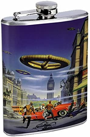 Vintage Science Fiction Futuristic Fantasy World Art Flask S43 Stainless Steel 8oz Hip Silver Alcohol Whiskey Drinking Brandy Rum Japanese