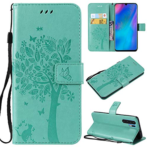 Flip Wallet Case for Huawei P30 Pro,Gostyle Leather Green Case Embossed Tree Butterfly Flower Pattern,Bookstyle with Card Slots Magnetic Closure Stand Cover