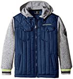 Weatherproof Big Boys' Quilted Dewspo and Sweater Fleece Hooded Jacket