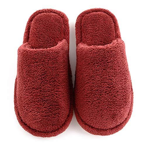 Morbido Muto Lebao Stile Ciabatte Casa Rosso Vino Cotone Peluche Imbottito Scarpe pantofole Cotone In Caldo Giapponese Pantofola Home Pattini Pantofole wABqt