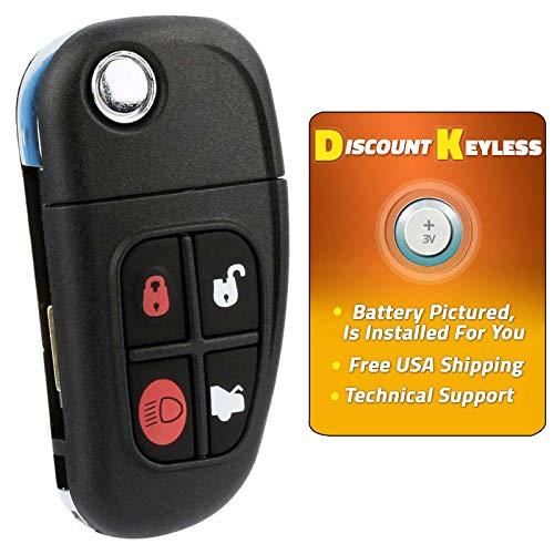 Discount Keyless Remote Entry Replacement Uncut Flip Key Fob For Jaguar XJ8 S-Type X-Type NHVWB1U241
