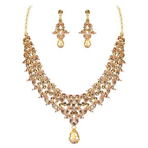 (BriLove Wedding Bridal Necklace Earrings Jewelry Set for Women Crystal Enamel Cluster Leaf Teardrop Statement Necklace Dangle Earrings Set Brown Gold-Toned)