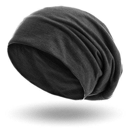 style3 Slouch Beanie aus atmungsaktivem, feinem und leichten Jersey Unisex Mütze, Farbe:Anthrazit