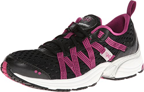 RYKA Women's Hydro Sport Water Shoe Cross-Training Shoe, Black/Berry/Chrome Silver, 10 M US