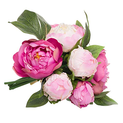 (PINE AND PAINT LLC Bright Pink Floral Peony Bouquet Silk Flowers Artificial Wedding Home Decoration)