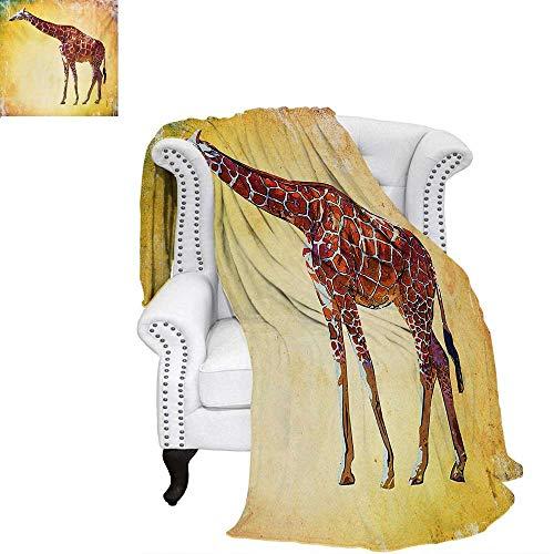warmfamily Giraffe Summer Quilt Comforter Vintage Style Illustration Watercolor African Animal Wildlife Safari Zoo Retro Art Digital Printing Blanket 90