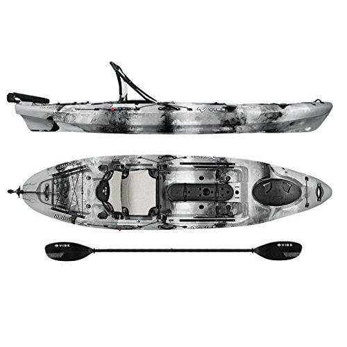 Vibe Kayaks Sea Ghost 110 11 foot Angler Sit On Top Fishing Kayak with Paddle and Dual Position Hero Seat and Rudder System Included