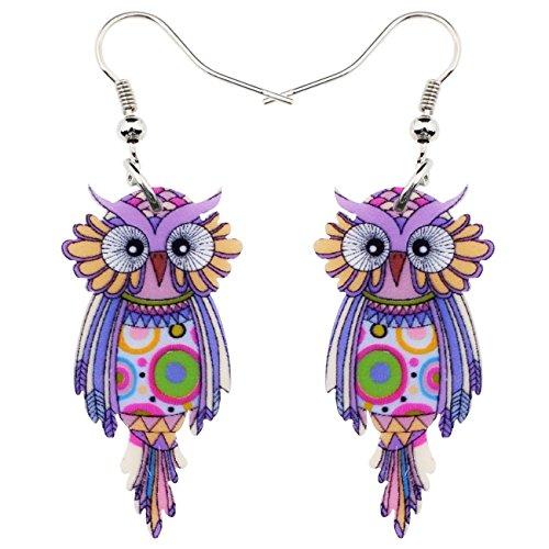 Sweet Dangle OWL Earrings Acrylic Long Bird Drop For Girls Women Kids Both Side Pattern By Bonsny Jewelry - Dangling Bird