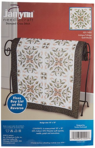 Antique Foliage Quilt Blocks Stamped Cross Stitch-15 by 15-Inch, 6 Per Package - Janlynn 21-1400