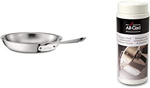All-Clad 4110 Stainless Steel Tri-Ply Bonded Dishwasher Safe Fry Pan / Cookware, 10-Inch, Silver & 00942 Cookware Cleaner and Polish, 12-Ounce