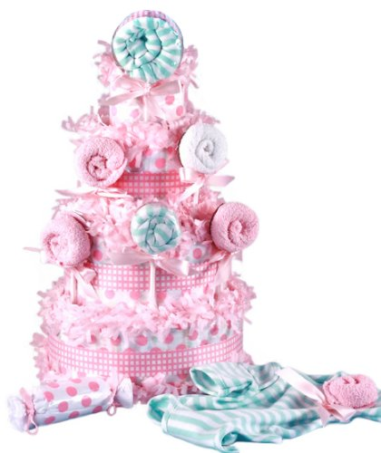 Lollipop Baby Shower Diaper Cake for Girls by Silly Philly