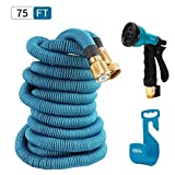 HBlife 75 ft Expandable Garden Water Hose with 8 Spray Pattern Nozzle, Hose Hanger & Storage Bag