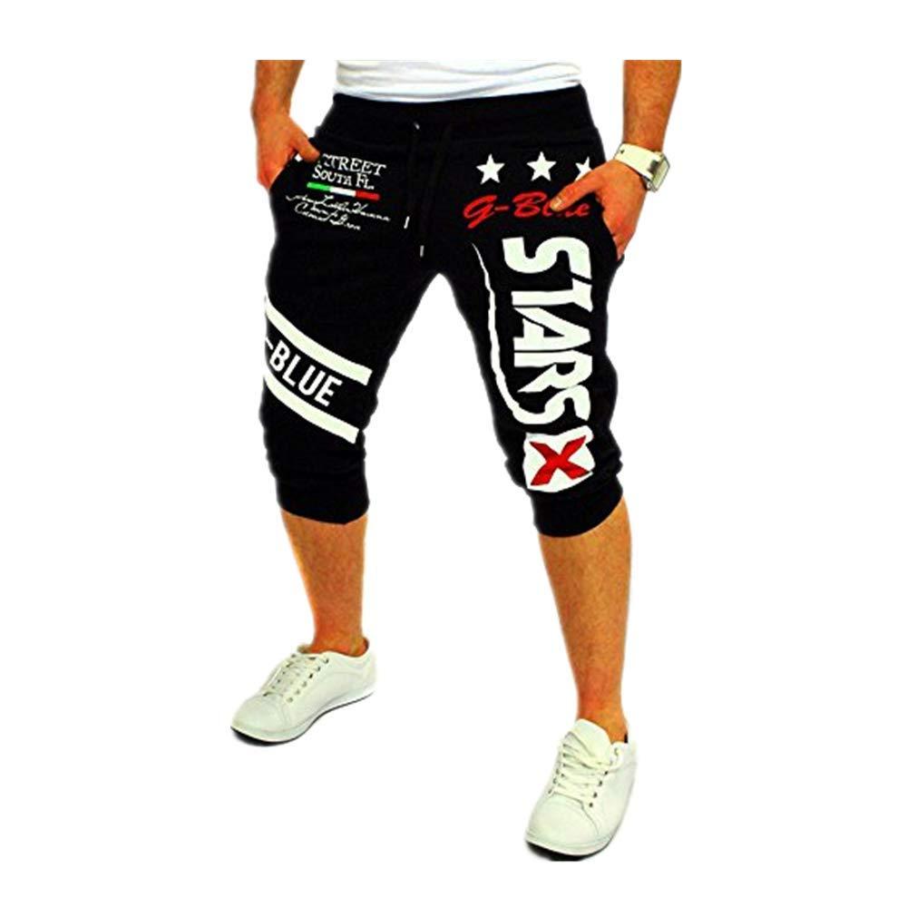 Beonzale Herren Jogging Hosen der neuen M/änner der M/änner Drawstring-elastische Taillen-Druck-lose Sport-Hosen