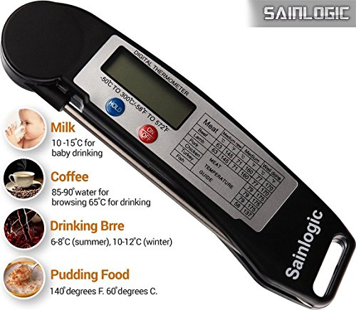 Sainlogic Instant Read Digital Thermometer, dutch oven temperature chart is a guide for charcoal briquettes to achieve specific cooking temperatures