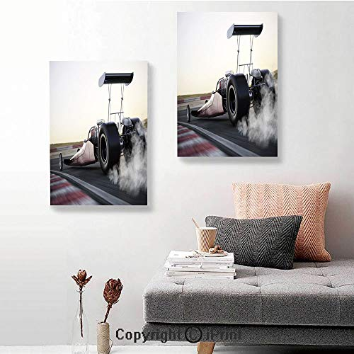(2 Piece Multi Panel Hanging Canvas,Dragster Racing Down The Track with Burnout Competition Speed Sports Technology Decorative,16