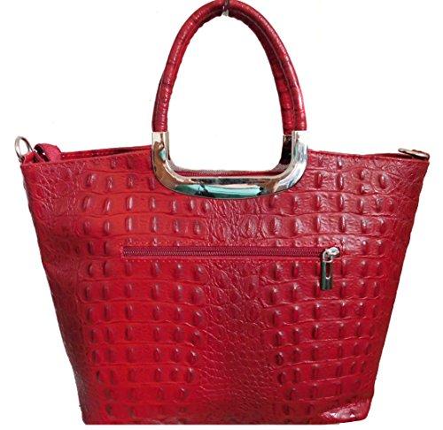 Color Auténtica Rojo Bolso Estampado Piel Mano Carele Coco De Bottega w6q8CIZ