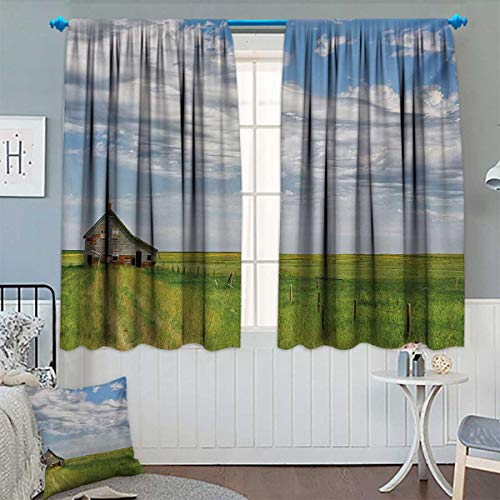 Rustic Blackout Window Curtain Canadian Timber House in Terrain Grassland Farmland with Clouds in Air Landscape Customized Curtains 63