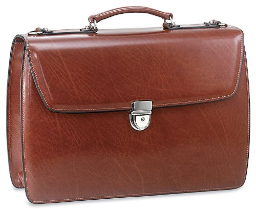 Briefcases Double Gusset - Jack Georges Elements Double Gusset Flap Leather Briefcase 4402 - Cognac