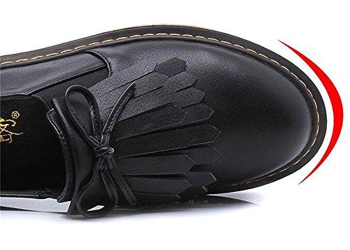 WUIWUIYU Femme Fille Derby Classic Basses Style Britannique Bout Rond Chaussures Noir jcoLoy