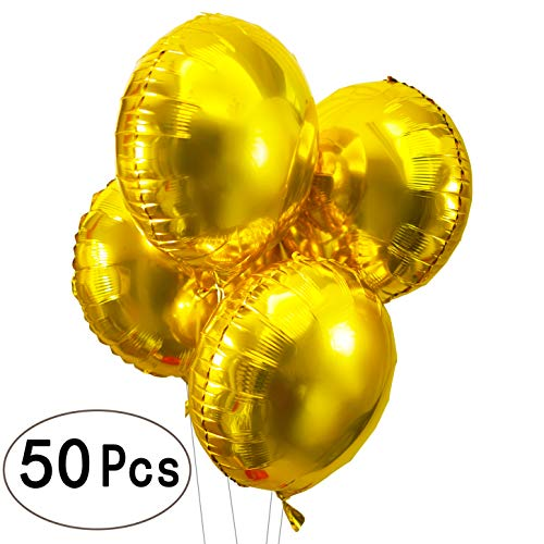 18 inch Glitter Gold Bachelorette Party Round Foil Mylar Balloons Helium Balloons Wedding Engagement Bridal Shower Baby Shower Birthday Party Balloons Decorations, 50 PC for $<!--$18.59-->