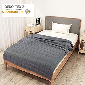Image of Homde Weighted Blanket with 4.7?? x 4.7?? Small Compartments Oeko-Tex & SGS Certified (20lbs, 60 x 80 Inch, Queen Size) for Adults and Kids | 100% Breathable Cotton Material with Glass Beads | Grey Homde B07SRS2VY1 Weighted Blankets