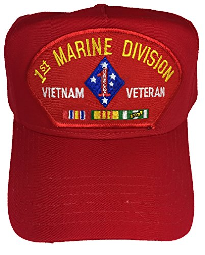 1ST MARINE DIVISION VIETNAM VETERAN WITH CAMPAIGN RIBBONS HAT - RED- Veteran Owned Business (Marine Division Hat)