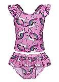 Cotrio Unicorn Swimsuit Girls Two Piece Bikini Swimming Suit Rainbow Bathing Suit Swimwear Toddler Tankini Size 8 (130, 5-6Years, Pink)