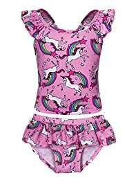 26f3dfb407ae9 Jurebecia Unicorn Swimsuit Girls Two Piece Swimwear Holiday Party Bathing  Suit