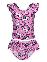 Jurebecia Unicorn Swimsuit Girls Two Piece Swimwear Holiday Party Bathing Suit