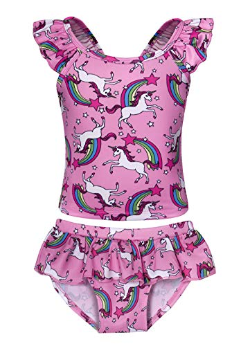 Jurebecia Girls One Piece/2 Pieces Swimsuit Swimwear Kids Unicorn Rainbow Tankini Bathing Suit Bikinis Beach Wear 2-10 Years (Pink61, 4-5Years)