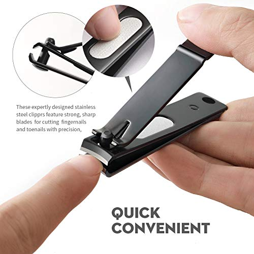 RUCKERCO Nail clippers set black matte stainless steel 3 pcs nail clippers slant edg Toenail Clipper