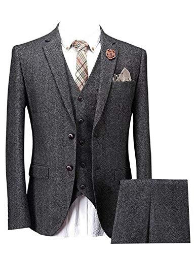 Men's Slim Fit 3-Piece Suit Classic Vintage Tweed Herringbone Blazer Tux Vest & Pants Set Grey